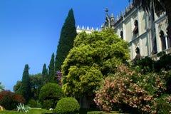 Isola del Garda. Looking up to the Venetian neo-Gothic style villa Royalty Free Stock Photo