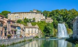 Isola del Liri, small town in the province of Frosinone, Lazio, central Italy. Isola del Liri is an Italian town in Lazio, Frosinone. As its name implies, Isola stock image