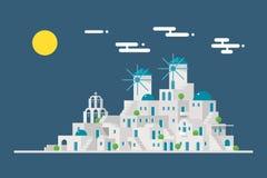 Isola del villaggio del mulino a vento di paesaggio urbano di Santorini Immagini Stock
