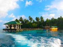 Isola del villaggio di Embudu, Maledives, Oceano Indiano Immagine Stock Libera da Diritti