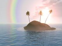 Isola dell'albero di noce di cocco tre Fotografia Stock Libera da Diritti