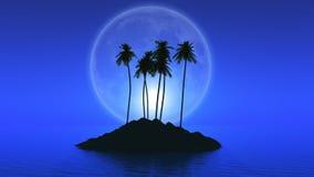 Isola della palma con la luna romanzata Fotografie Stock