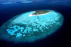 Isola della vista areale delle Maldive Immagine Stock Libera da Diritti