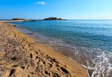 Isola delle Correnti品柱Passero海滩 免版税库存图片