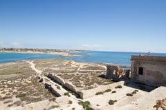 Isola delle Correnti, Capo Passero - Sicilien Arkivbilder