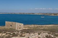 Isola delle Correnti, Capo Passero - Sicilien Arkivbild