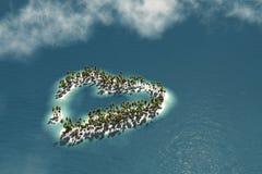 Isola delle Maldive sotto forma di cuore Immagini Stock