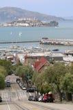 Isola di Alcatraz con porto e la baia San Francisco, California, U.S.A. Fotografie Stock Libere da Diritti