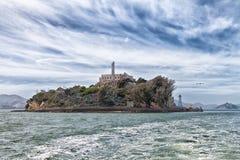 Isola di Alcatraz dall'acqua Fotografie Stock Libere da Diritti