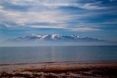 Isola di Arran dall'ayrshire della spiaggia di Seamill Immagine Stock Libera da Diritti