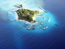 Isola di Bolifushi dal seaplane immagini stock libere da diritti