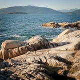 Isola di Bowen ed isola del passaggio dal parco del faro, Vancouver ad ovest, BC Immagini Stock