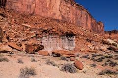Isola di Canyonlands NP della traccia di Murphy nel cielo Utah Fotografie Stock Libere da Diritti