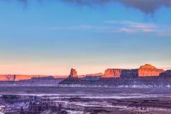 Isola di Canyonlands NP della traccia di Murphy nel cielo Utah Fotografia Stock