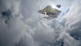 Isola di galleggiamento con le cascate e gli arcobaleni Fotografie Stock Libere da Diritti