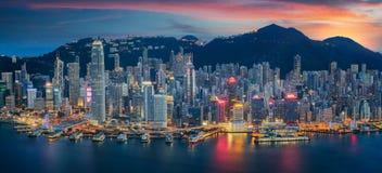 Isola di Hong Kong da Kowloon Fotografia Stock Libera da Diritti
