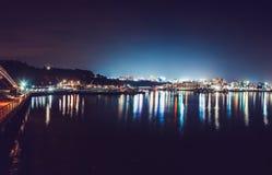 ISOLA DI JEJU, COREA DEL SUD - 19 AGOSTO 2015: Vista panoramica sulla città durante la notte - isola di Jeju, Corea del Sud di So Fotografia Stock