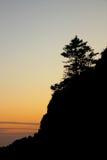 Isola di Jeju - della Corea del Sud - siluetta di sera Fotografia Stock Libera da Diritti