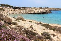 Isola di Lampedusa, Mar Mediterraneo fotografia stock libera da diritti