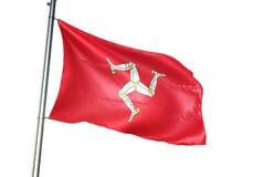 Isola di ondeggiamento della bandiera nazionale di MANN isolata sull'illustrazione realistica 3d del fondo bianco illustrazione vettoriale
