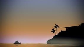 Isola di palme tropicale Fotografia Stock Libera da Diritti