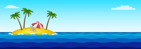 Isola di Paradise in mezzo all'oceano illustrazione vettoriale