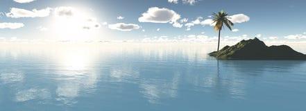Isola di paradiso con la palma Fotografia Stock