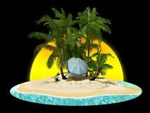 Isola di paradiso con le palme Fotografia Stock Libera da Diritti