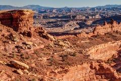 Isola di parco nazionale bianca di Canyonlands della strada dell'orlo di zona di Whitecrack nel cielo Utah fotografie stock