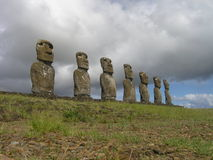 Isola di pasqua - Ahu Akivi Fotografia Stock