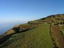Isola di pasqua - villaggio di ceremonial di Orongo Fotografia Stock Libera da Diritti