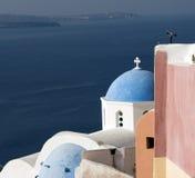 Isola di santorini della chiesa greca Fotografia Stock Libera da Diritti