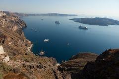Isola di Santorini, vista della caldera, città Thira Fira Fotografia Stock Libera da Diritti