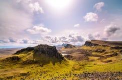 Isola di skye, montagna di Quiraing, paesaggio scenico della Scozia fotografia stock libera da diritti