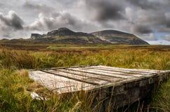 Isola di skye, montagna di Quiraing, paesaggio scenico della Scozia fotografia stock