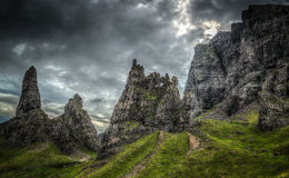 Isola di Storr di Skye Scotland HDR fotografie stock