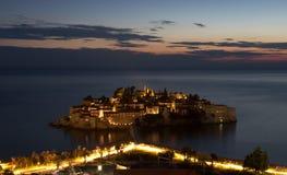 Isola di Sveti Stefan Fotografia Stock