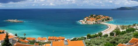 Isola di Sveti Stefan nel Montenegro Fotografie Stock Libere da Diritti