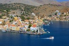 Isola di Symi di vista panoramica, Dodecanese Fotografie Stock