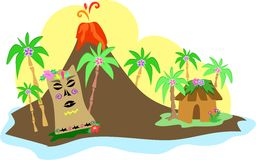 Isola di Tiki con il vulcano Fotografia Stock