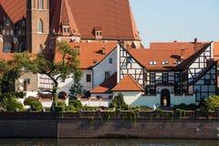 Isola di Tumski a Wroclaw, Polonia, Europa Orientale Fotografie Stock Libere da Diritti
