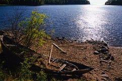 Isola di Valaam, Carelia, Russia Baia di Nikonovskaya Immagine Stock Libera da Diritti