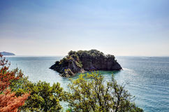 Isola disabitata visibile da Sensuijima Fotografia Stock