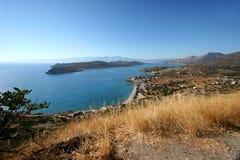 Isola e baia di Spinalonga Fotografia Stock Libera da Diritti