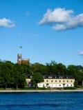 Isola e castello svedesi Fotografia Stock Libera da Diritti