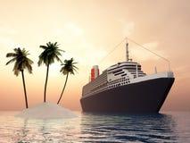 Isola e nave da crociera Immagine Stock