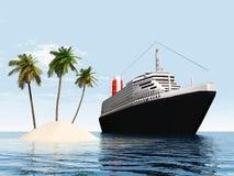 Isola e nave da crociera Fotografia Stock Libera da Diritti