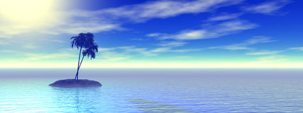 Isola e palma tropicali Fotografia Stock