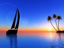 Isola ed imbarcazione di navigazione Fotografie Stock Libere da Diritti