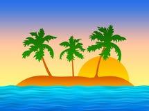 Isola esotica con le palme Fotografie Stock Libere da Diritti